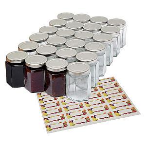 24 8oz Hexagonal Jam Jar With Lid