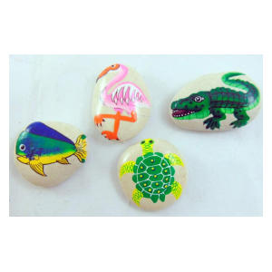 4 Hand Painted Miniature Garden Stones