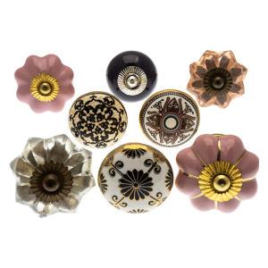 8 Vintage Style Ceramic Cupboard Knobs