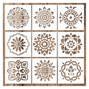9 Pack Mandala Rock Painting Stencils