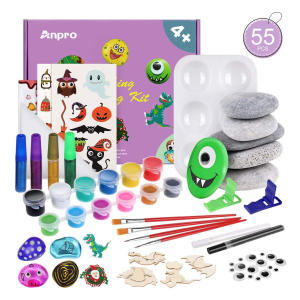 Anpro 55Pcs Rock Painting Set