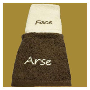Arse and Face Embroidered Face Cloths
