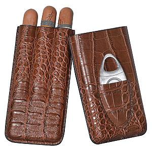 Brown Crocodile Pattern Travel Cigar Case