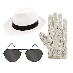 Childrens Gangster Hat Glasses Gloves Set
