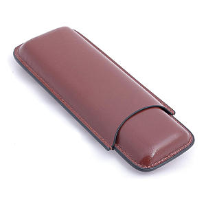 Cigar Brown Leather Case for 2 Cigars