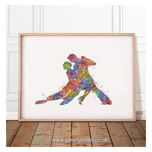 Couple Dancing Salsa Watercolour Print