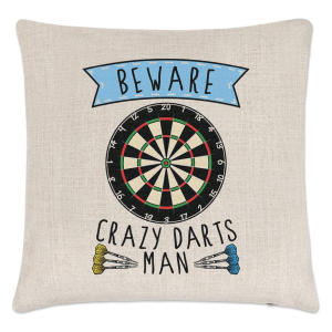 Crazy Darts Man Cushion Cover