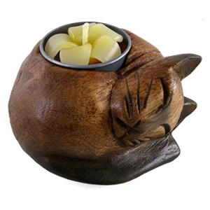 Curled Cat Wooden Tealight Holder
