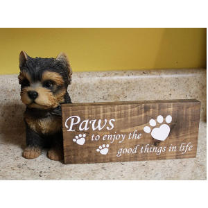 Paw Print Wooden Sign