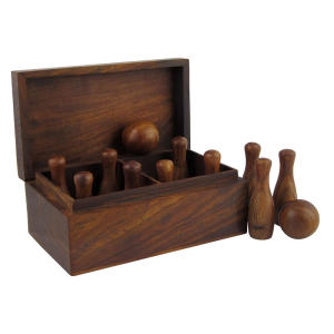 Handcrafted Wooden 10 Pin Bowling Set