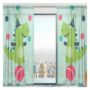 Juggling Dinosaur Voile Curtains