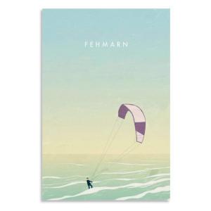 Kitesurfing Retro Travel Poster
