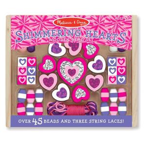 Melissa & Doug 19495 Shimmering Hearts Wooden Bead Set