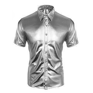 Men's Metallic Silver Cosplay Shirt