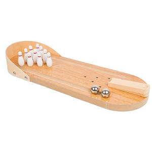 Mini Wooden Desktop Ten Pin Bowling Game