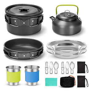 Odoland 16pcs Camping Cookware Kit