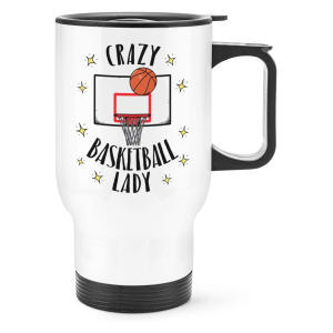 Crazy Basketball Lady Travel Mug Cup