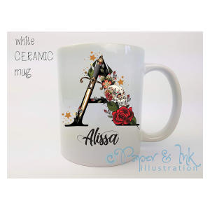 Personalised Initial Rose Tattoo Mug