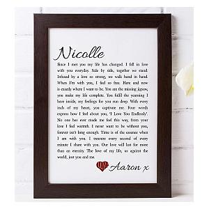 Personalised Love Poem Framed Print