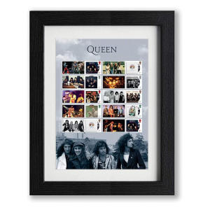 Queen Album Covers Framed Stamp Collector's Sheet