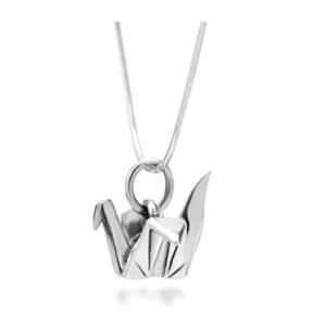Sterling Silver Origami Bird Paper Necklace