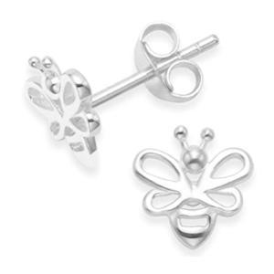 Sterling Silver Silver Bee Earrings