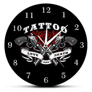 Tattoo Logo Printed Wall Clock