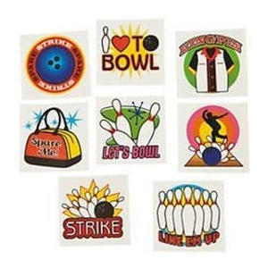 Ten Pin Bowling Temporary Tattoos