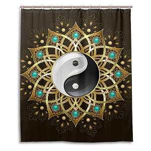 Tribal Tai Chi Mandala Shower Curtain