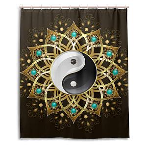 Tribal Tai Chi Mandala Shower Curtain