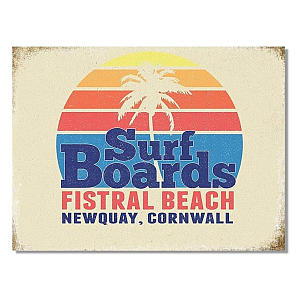 Vintage Surf Fistral Beach - Newquay Plaque