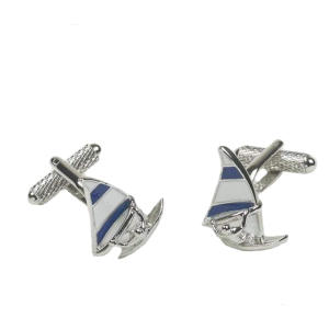 Wind Surfing Blue & White Sail Cufflinks