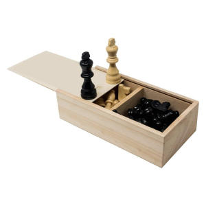 Wood Chess Pieces In Wooden Box