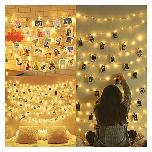 10M Fairy Lights with Pegs Photo Frames