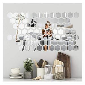 200 Hexagon Mirror Wall Stickers