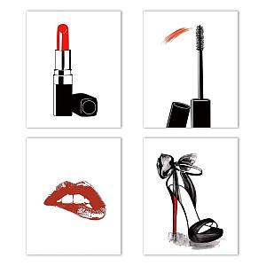 4 Fashion Makeup Art Prints