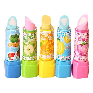4pcs Fruit Lipstick Style Erasers