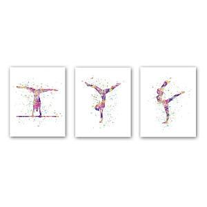 Abstract Girl Gymnastics Canvas Set