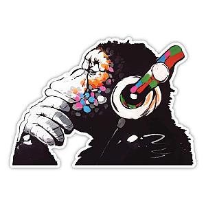 Banksy Thinker Monkey Headphones Design Wall Sticker