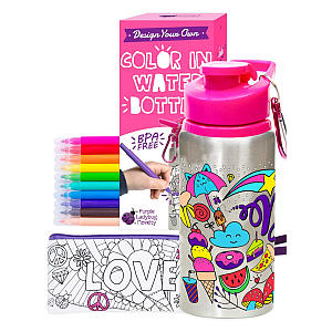 Colour Your On Water Bottle