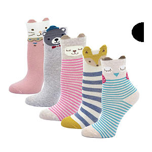 Cute Animal Pattern Socks X 5