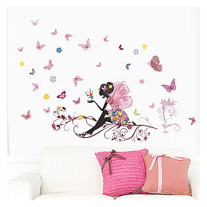 Fairy Pink Butterfly Wall Art