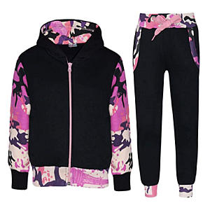 Girls Neon Pink Contrast Tracksuit