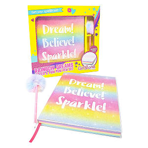 Glitter Rainbow Notebook and Pom Pom Pen Gift Set