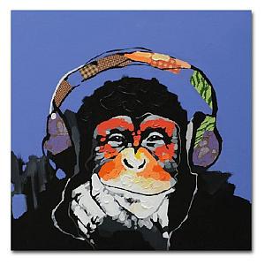 Gorilla Listening to Music Canvas