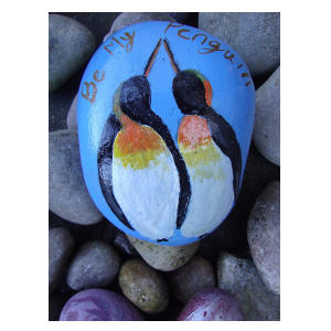 Hand Painted Penguin Stone