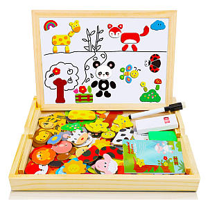 Magnetic Puzzle Board and Chalk Board