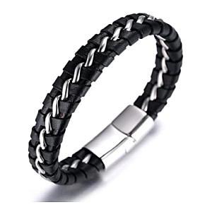 Men's Genuine Leather Titanium Bracelet