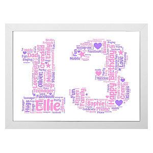 Personalised 13 Word Art Print