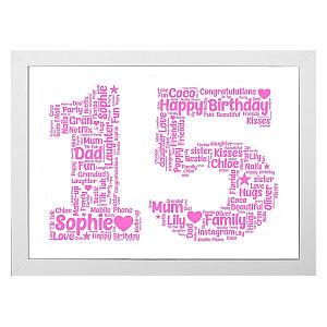 Personalised 15 Word Art Print